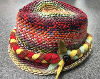 Fedora, multi with red/warm tones braided band
