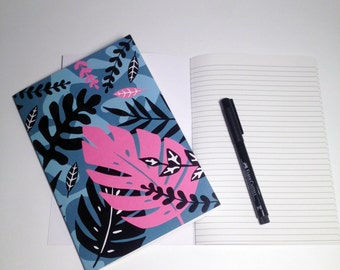 A5 Jungle Notebook with Lined pages and illustrated cover / jugle / leaves / leaf design
