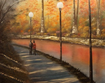 """Art Print - """"Afternoon Walk"""" Oil Painting Print,Fall Colors,Water,Living Room,Family Room,Sofa Painting,Canvas,Chris Fraser,Original Art"""