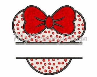 Mouse split frame applique - Head applique design - Miss mouse head applique  - Machine embroidery design - Instant download - 4x4 5x7 6x10