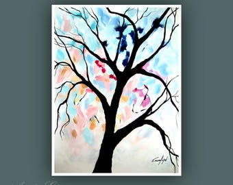 """Original Painting, Abstract Landscape Painting, Contemporary Art, Abstract Tree Painting, Modern Painting on Paper 18""""x24"""""""