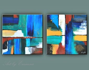 "SALE, Original Painting, Set of 2 Abstract Painting, Modern painting, Contemporary Art, Texture Painting, Wall Decor 24""x120"" Ready to Hang"