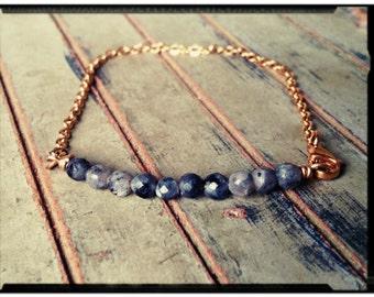 Labradorite & Gold - Bar Bracelet//Stacked Facetted Labradorite//Gold Stainless Steel Chain - Modern Design/Minimalist - Gift for Her