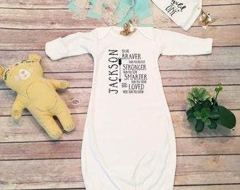 Newborn Boy Coming Home Outfit, Custom Baby Gift, Baby Boy Outfit, Baby Boy Hat, Baby Boy Personalized GIft, Baby Sleep Sack,Baby Sleep Gown