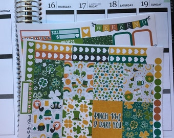 St Patrick's Day Mini Weekly Set ECLP Horz & Vert Planner Stickers Erin Condren Mambi Inkwell Press Filofax KikkiK Happy