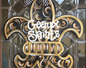 New Orleans Saints door hanger Fleur de lis door hanger Saints football door hanger Who Dat