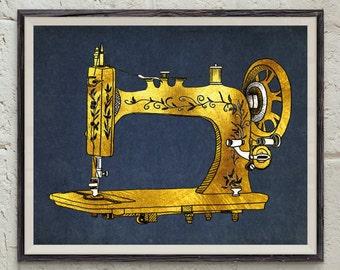 Sewing Printable - Digital Download Art - Craft Decor - Gift Idea - Sewing Machine Art - Retro Print - Gold Wall Art