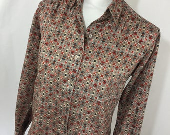 Vintage 1970's ADELAAR Gray & Red Geometric Print Shirt, Pointy Collar, Button Down, 100% Polyester, Vintage Size 12, Made in the USA