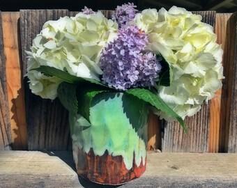 Large faceted porcelain vase