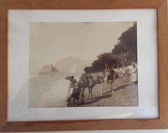 Lekegian orientalist old photograph signed Egypt end XIX far pyramids view