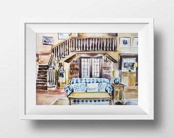 Wall Art Watercolor Full House Living Room Print,Fuller House Print,Full House Tv Show,90s Sitcom,Tanner House Print,Gift for Full House fan
