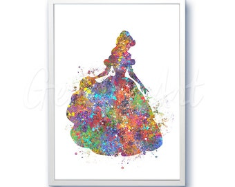 Disney Princess Belle Beauty and the Beast Watercolor Poster Print - Watercolor Painting - Watercolor Art - Kids Decor- Nursery Decor