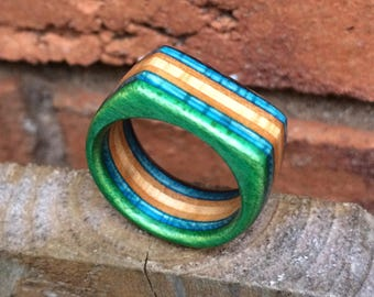 Wood Ring - Recycled Skateboard Ring | Upcycled Jewellery Handmade in Canada