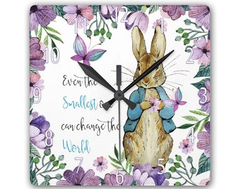 Peter Rabbit | Quote Clock | Beatrix Potter, Smooth Glass Square Clock - 180mm by 180mm in diameter