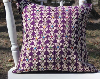 Mayan handwoven pillow cover, colorful cushion cover, accent pillow, pedal loom, handmade pillow cover