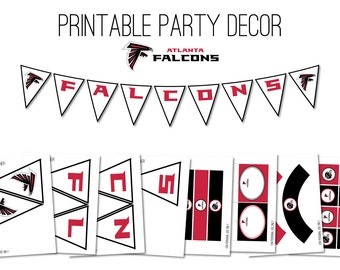 Superbowl Party Decor, Super Bowl Party, Printable Digital Party Decor Kit, Falcons Superbowl Party Decor, Superbowl Decor, Falcons Decor