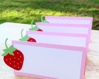 12 Strawberry Food Tent Cards Strawberry Place Cards Strawberry Shortcake Food Tent Cards & Strawberry tent card | Etsy