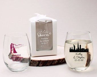 24 pcs Personalized 9 Oz Stemlesss Wedding Favors BOX NOT Included (JM218773)