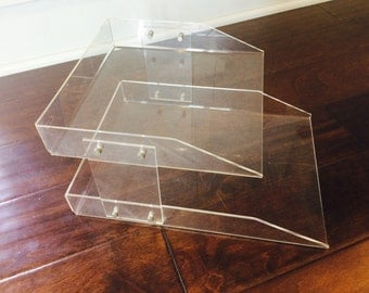 Lucite Office Paper Tray Organizer/Lucite Paper Organizer/Lucite Double Paper Tray/Lucite Office Storage