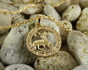 Aries necklace aries pendant aries charm aries jewelry astrology jewelry aries zodiac necklace astrology necklace gold plated chain necklace