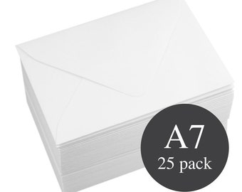 25 - A7 White Matte Euro Flap Envelopes - Wedding White  - 5 1/4 x 7 1/4
