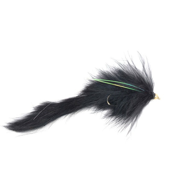 Hand Tied Trout Flies: Bead Head Bouface Marabou Bunny Streamer - Black - Trout and Bass Fly Fishing Flies - Hook Size 4