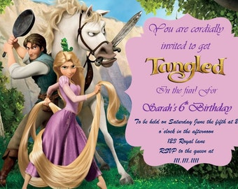 Disney Tangled Birthday Invitation Digital Download Rapunzel 4x6 and 5x7