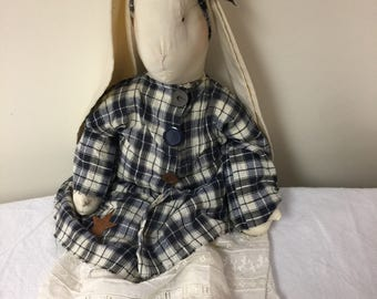 Handmade large rabbit, primitive clothing, antique lace underskirt, muslin body, navy/cream checked dress, rusted star on dress,
