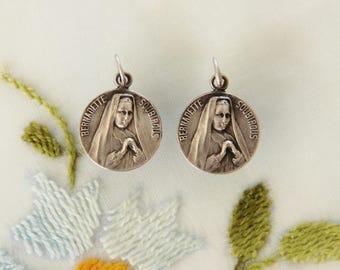 2 Vintage Catholic Medals - St. Bernadette Soubirous at 14