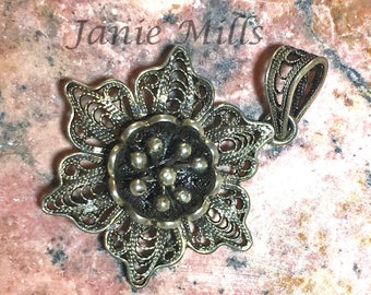 Sterling Silver Filigree Flower 23mm