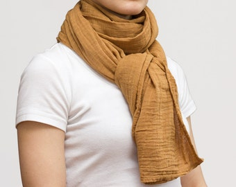 SALE! camel beige organic cotton gauze scarf or wrap / hand dyed 30% off!