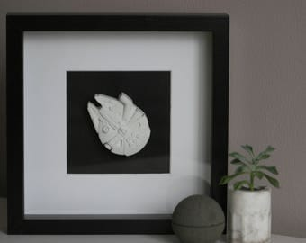 Concrete Star Wars Box Frame | Millenium Falcon | Gift