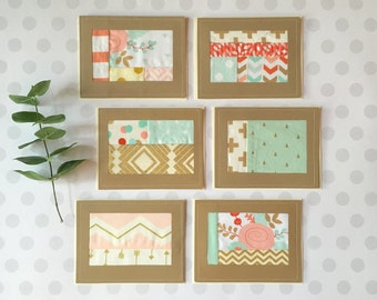 Coral, Mint, & Gold Quilted Blank Card Set