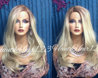 Platinum Blonde With Light Brown Roots Human Hair Blend Realistic Lace Front Wig