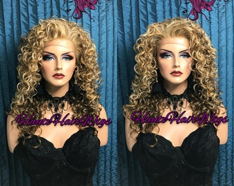 Multi Tone Blonde Curly Human Hair Blend Lace Front Wig - Lizzie