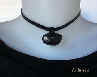 Power stone Shungite choker, Shungite Pendant Necklace for her