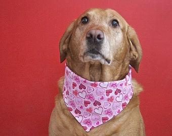 Pink Valentine Hearts Reversible Pet Bandana