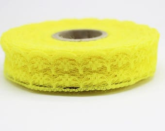 25 mm Yellow Lace trim  - Seam(0.98 inches) Binding hem tape chantilly lace trim for bridal, baby, lingerie, hair accessories  -