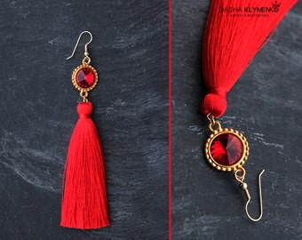 red tassel earrings silk tassels gift for her long dangles high-quality jewelry long statement earrings Swarovski red gold summer earrings