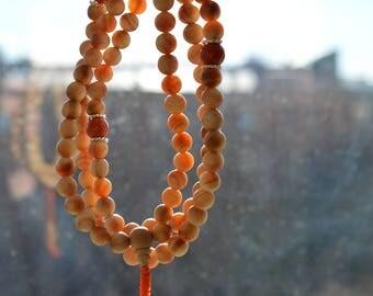 Buddhist prayer beads. Buddhist mala. Japa Mala. Rosary. Raja Kayu Wood Mala. Natural Unique Transparent Wood! Tantra. Buddhism.