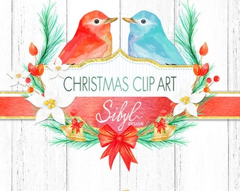 60% OFF SALE, Watercolor Christmas Clipart, Hand Painted Winter Clipart, Winter Birds, Christmas Wreath, Diy Project, Holiday clipart , PNG