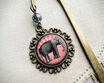 Elephant brass book hook bookmark with dangling glass cabochon accent