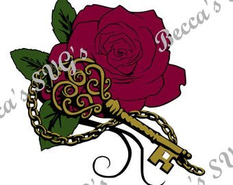 3 color/layer Rose with Key SVG