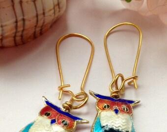 Owl Earrings Cloisonne Gold Plated Colourful Birthday Anniversary Christmas Gift Valentine Vintage Inspired Stocking Filler Teacher Student