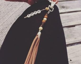 Boho Keychains, Gypsy Pocket Pendants, Wooden Beads, Pendants, Tassels, Home Letters