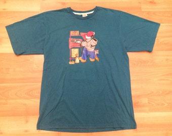 XL 90's School of Hard Knocks men's vintage T shirt DJ graffiti green 1990's hip hop SOHK