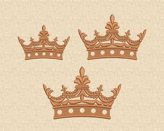 Gold Crown Embroidery Design, Machine Embroidery Design, 4x4, Digital Pattern, Instant download