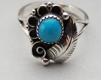 Sleeping Beauty Turquoise Sterling Silver Finger Ring - Hallmarked - Size 8-3/4