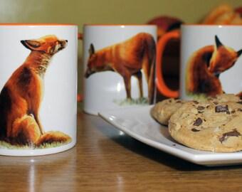Fox Coffee Mug, One Tea Cup, Fine Art Print of Foxes, Bright Animal Drinkware, Perfect Gift