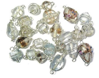 Crystal glass beads with silver wire, from 12 to 25 mm RAY-3314100801